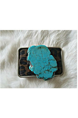 Leopard Hair on Hide Turquoise Slab Chunk Belt Buckles
