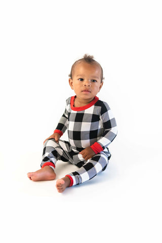 Little Sleepies Black & White Plaid bamboo viscose two-piece pajama set