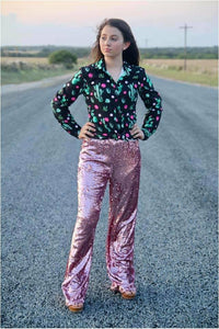 Dusty Pink Sequin Wide Leg Pants