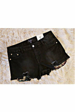 Black Frayed Denim Camo Sequin Pocket Shorts