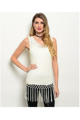 Ivory Crocheted Knit Fringe Tank