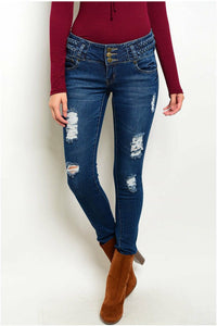 KABA Dark Distressed Skinny Jeans