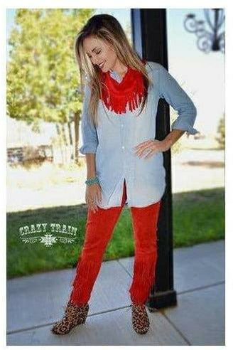Red Forever Fringe Pants