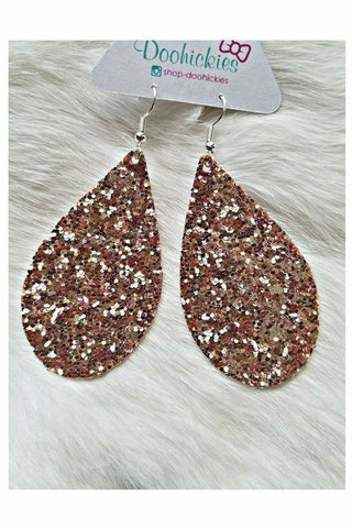 Champagne Chunky Glitter Teardrop Earrings