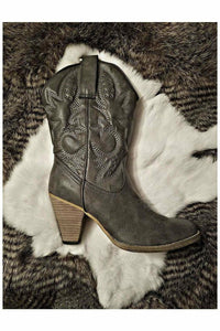 Denver Black/Grey Embroidered Cowboy Boots