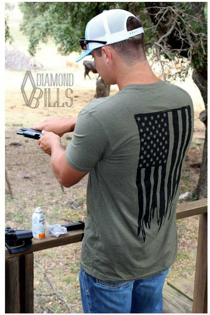 Tested Military Green Diamomd Bills Tee