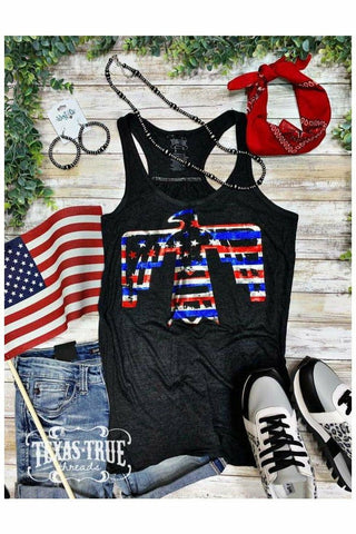 Red White & Blue Foil Striped Patriotic Bird Tank