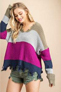 Orchid Distressed Color Block Sweater