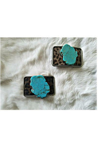 Leopard Hair on Hide Turquoise Slab Chunk Belt Buckle