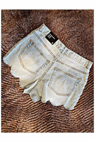Light Denim Scalloped Shorts