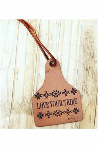 Love Your Tribe Cow Tag Scented Leather Car Freshener