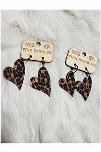 Pink Panache Heart Shaped Leopard Cork Earrings