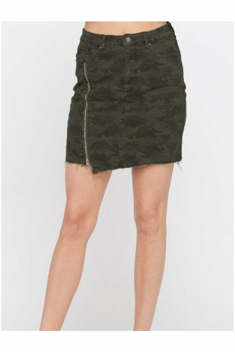 Olive Camo Zipper Slit Skirt