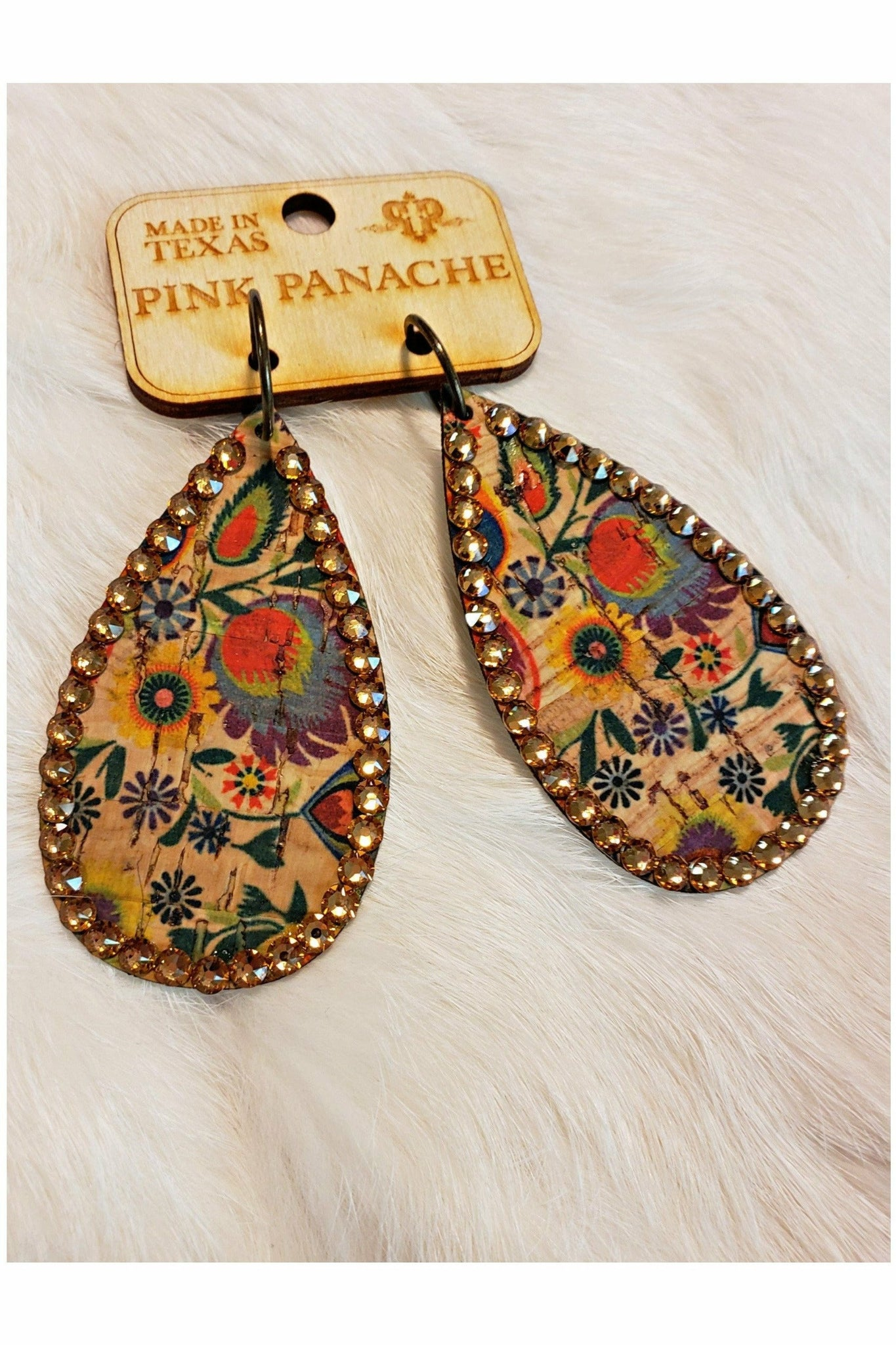 Pink Panache JewelryNATURAL FLORAL TEARDROP LIGHT COLORADO CRYSTAL EARRING