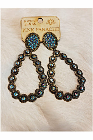 Pink Panache Bronze Oval and Teardrop Earrings with ST Stones