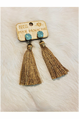Pink Panache Bronze Silk Tassel Earrings with 10mm Pacific Opal Cushion Cut Crystal Earrings
