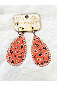 Pink Panache Teardrop Red Paisley Earrings with Clear Crystals