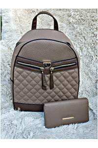 Boujie Bee Quilted Taupe Backpack/Wallet Set