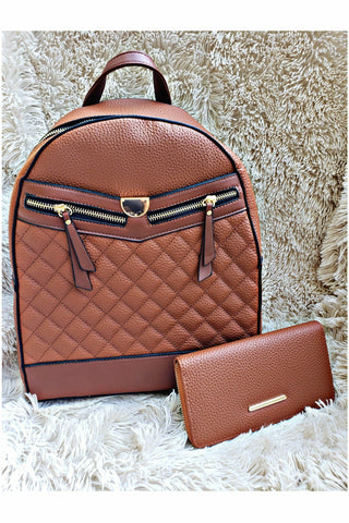 Boujie Bee Quilted Cognac Backpack/Wallet Set