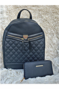 Boujie Bee Quilted Black Backpack/Wallet Set