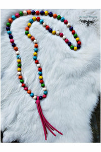 Psychedelic Rainbow Tassel Necklace