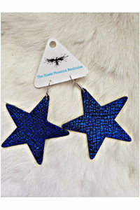 Blue Crackle Leather Star Earrings
