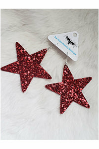 Red Glitter Star Earrings