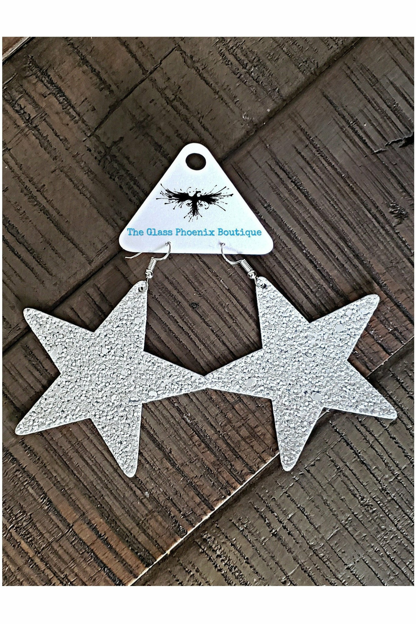 White Glitter Star Earrings