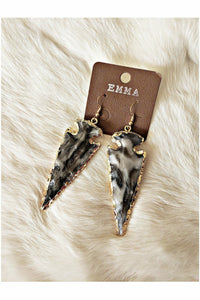 Dark Grey Arrowhead Earrings