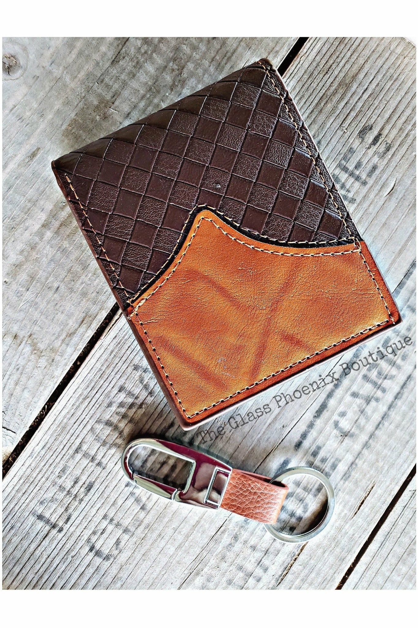 Brown Woven Wallet & Keychain Set