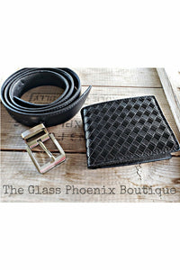 Black Woven Wallet & Belt Set