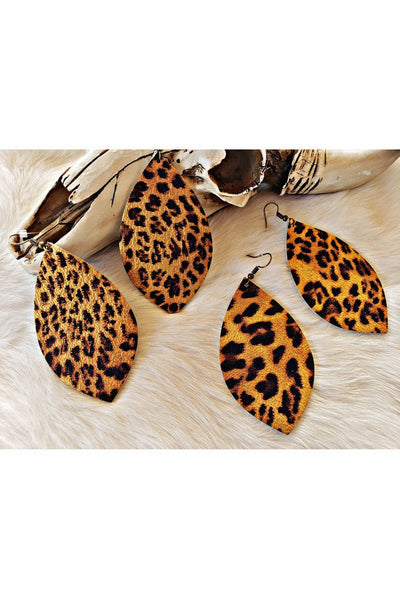 Metallic Leopard Leaf Earrings