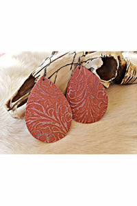 Shimmer Coral Embossed Teardrop Earrings