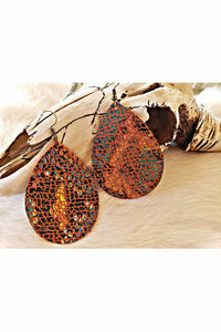 Multi Color Snakeskin Teardrop Earrings