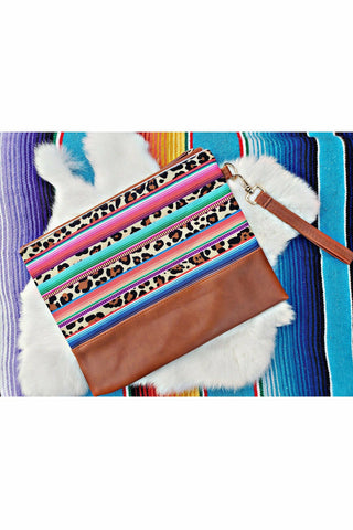 Neon Serape Leopard Striped Clutch Wristlet