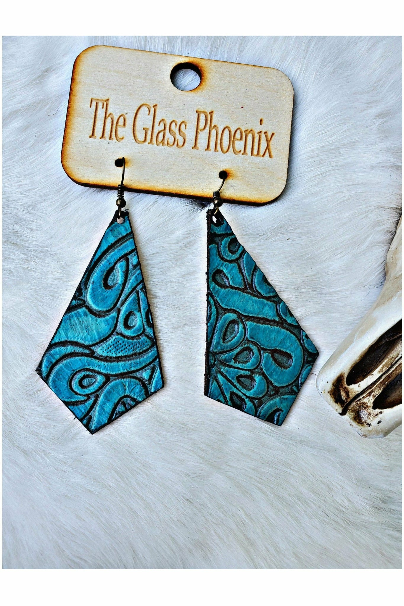 Inverted Kite Turquoise Embossed Leather Earrings