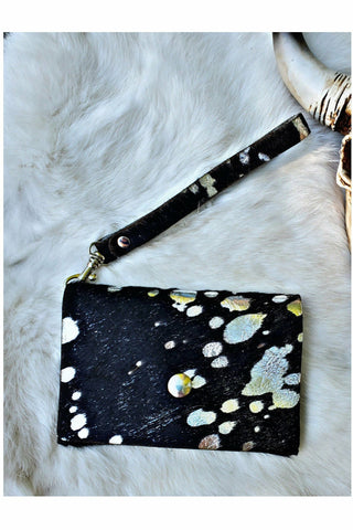 Black/Silver Cowhide Acid Wash Card Wristlet