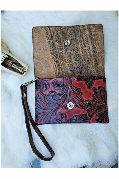 Red Embossed Leather Card Wristlet