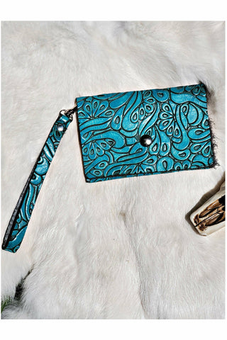 Turquoise Embossed Leather Card Wristlet
