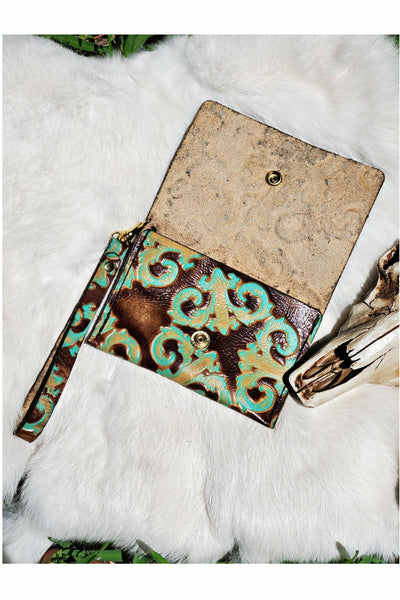 Brown/Turquoise Embossed Leather Card Wristlet
