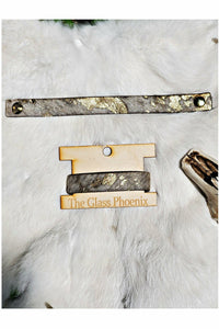 White Cowhide Bracelet with Gold Acid Wash