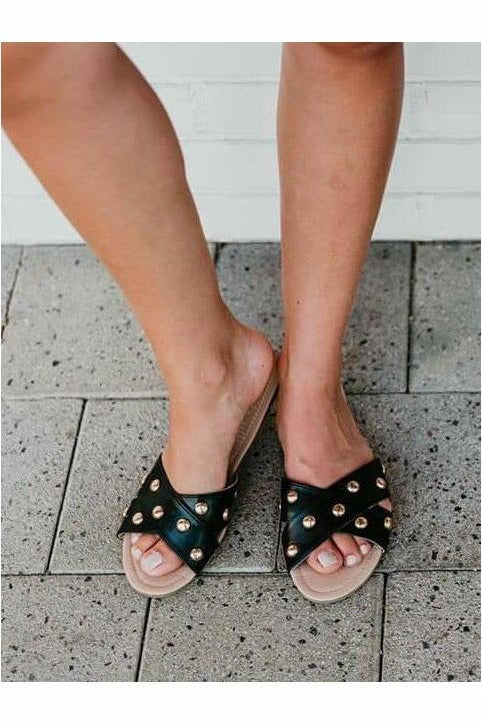 Showstopper Black Studded Sandals - Rollasole