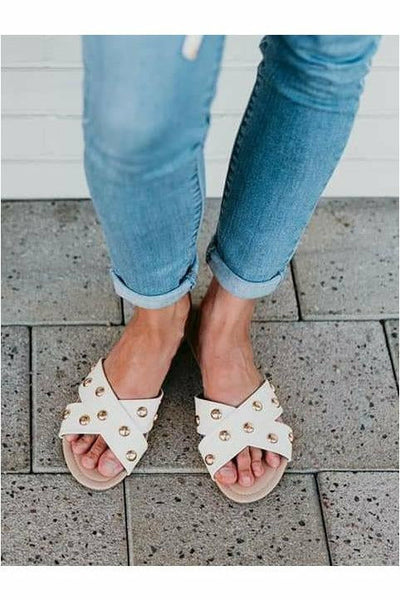 Sandstorm Cream Studded Sandals - Rollasole