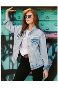 Distressed Boyfriend Light Denim Jacket