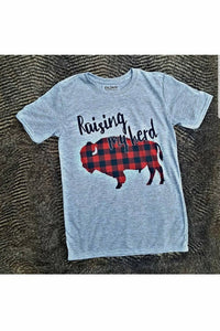 Raising My Herd Plaid Buffalo Tee