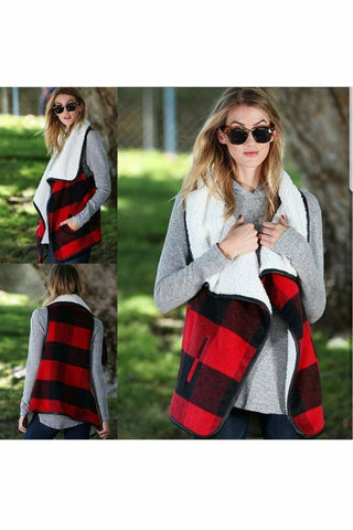 Campfire Stories Plaid Shearling Vest