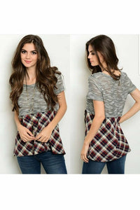 Plaid & Marble Grey Baby Doll Top