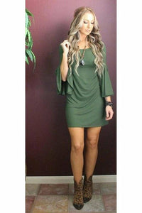 Olive Bell Sleeve Tunic Dress