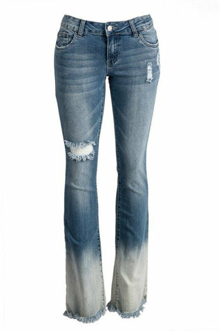Fading Into You Distressed Ombrè Bootcut Jeans