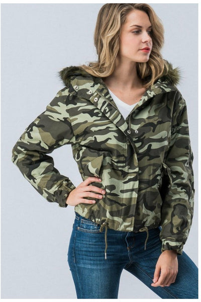 Fur Hooded Camouflage Jacket